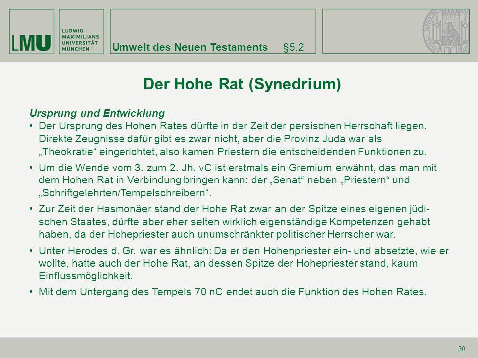 Der Hohe Rat (Synedrium)