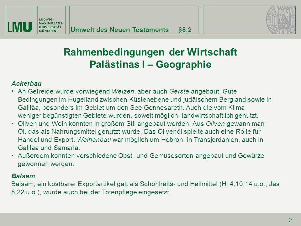 Rahmenbedingungen der Wirtschaft Palästinas I – Geographie