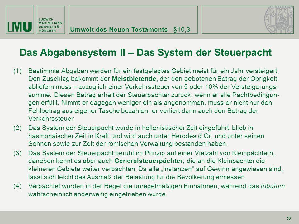 Das Abgabensystem II – Das System der Steuerpacht