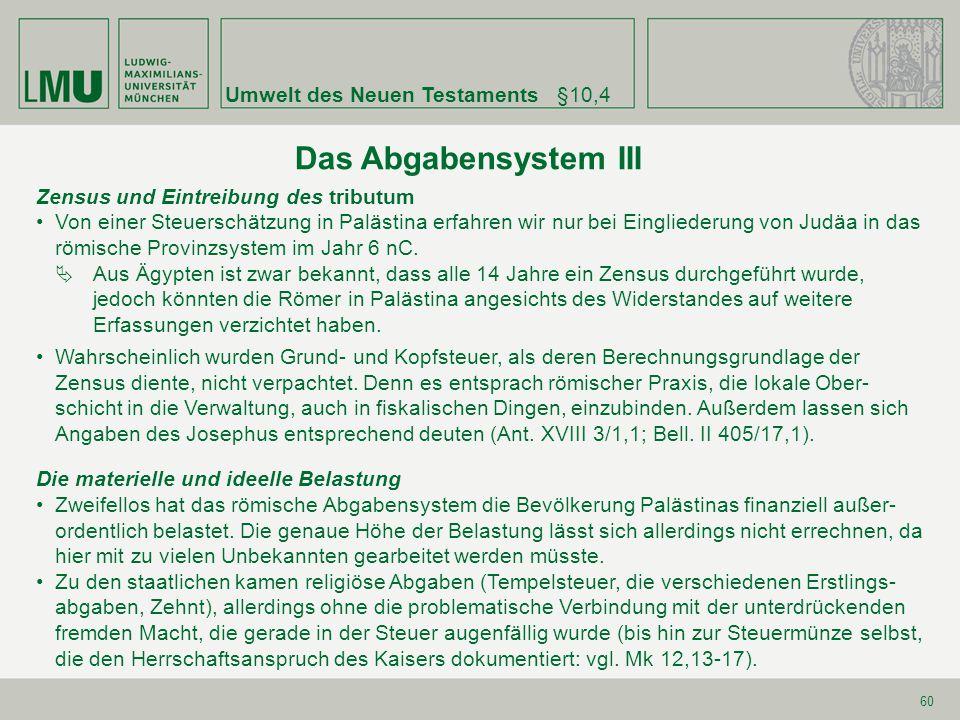 Das Abgabensystem III Umwelt des Neuen Testaments §10,4