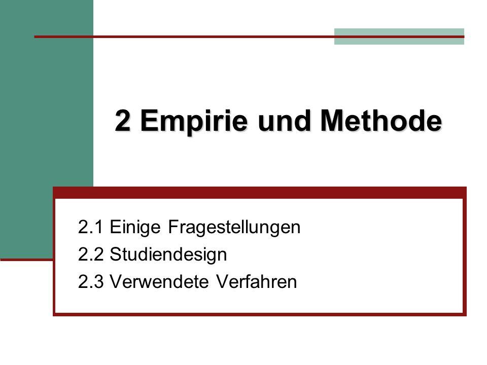 2.1 Einige Fragestellungen 2.2 Studiendesign 2.3 Verwendete Verfahren