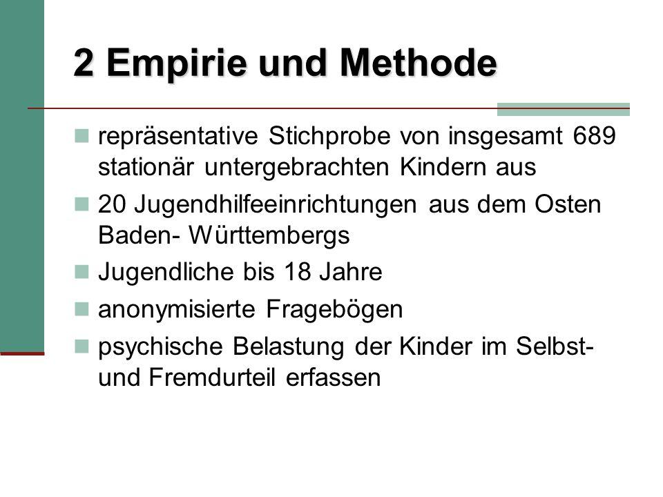 2 Empirie und Methode repräsentative Stichprobe von insgesamt 689 stationär untergebrachten Kindern aus.