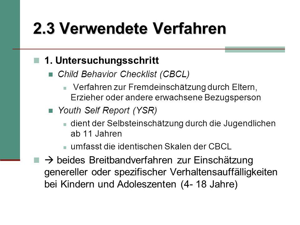 2.3 Verwendete Verfahren 1. Untersuchungsschritt