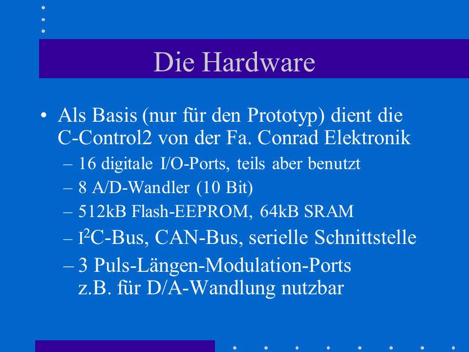 Die Hardware Als Basis (nur für den Prototyp) dient die C-Control2 von der Fa. Conrad Elektronik. 16 digitale I/O-Ports, teils aber benutzt.