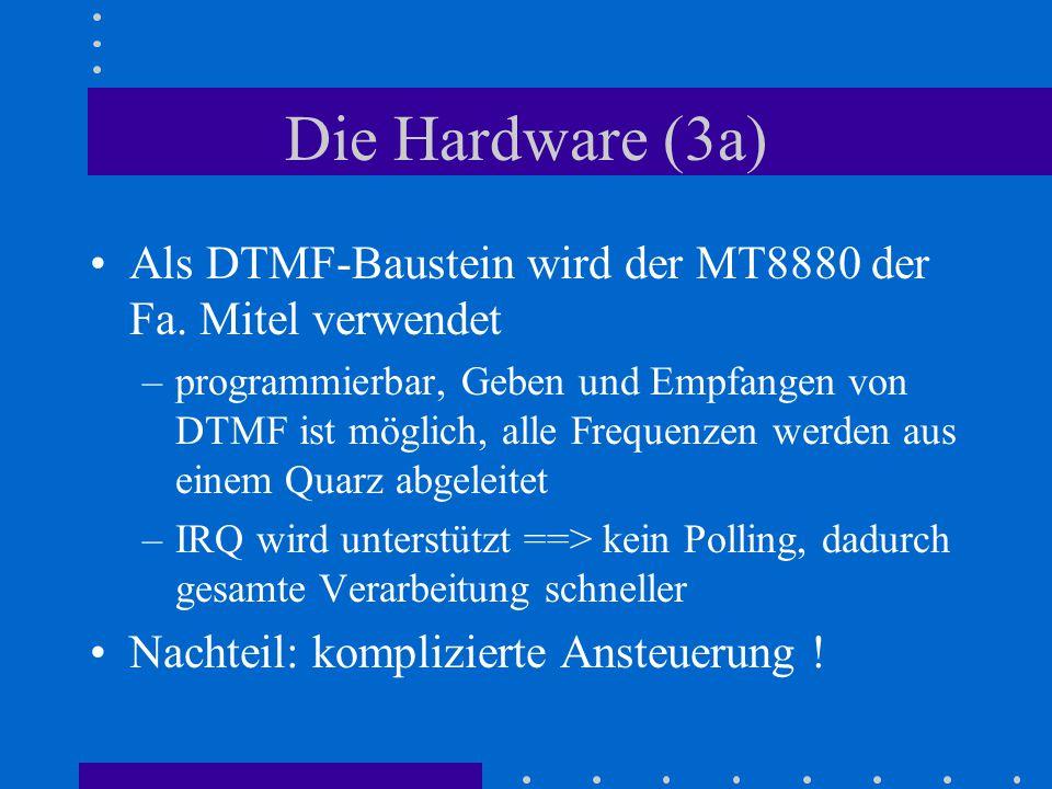 Die Hardware (3a) Als DTMF-Baustein wird der MT8880 der Fa. Mitel verwendet.