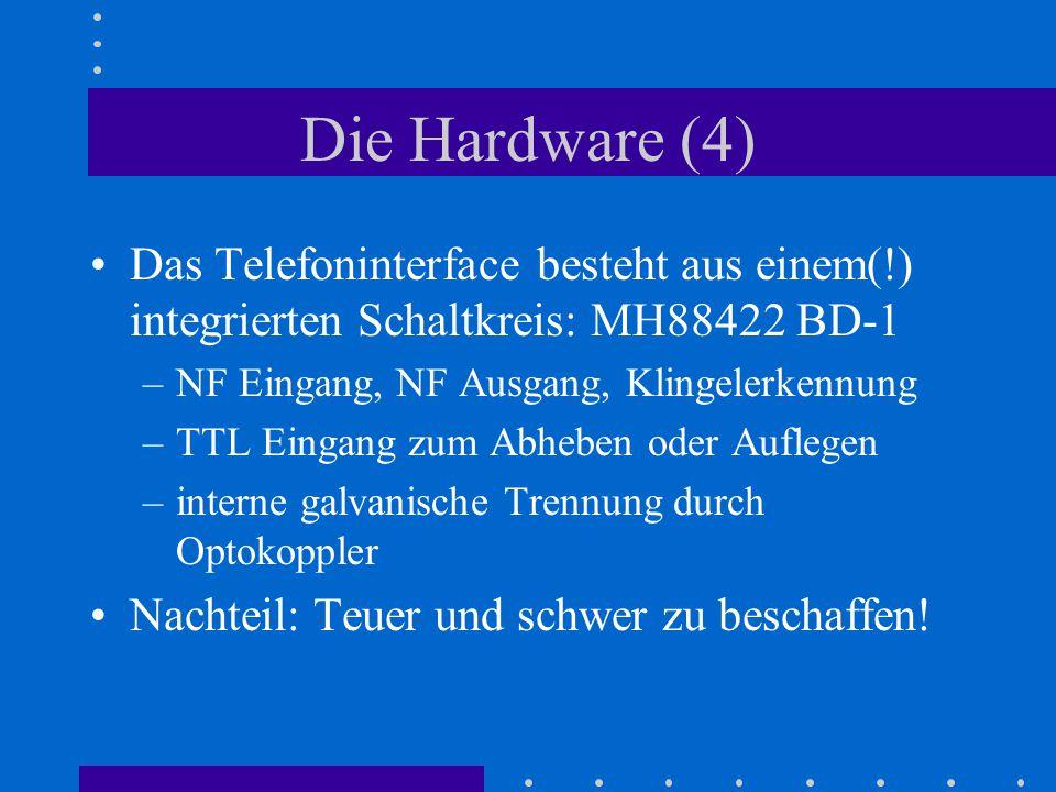 Die Hardware (4) Das Telefoninterface besteht aus einem(!) integrierten Schaltkreis: MH88422 BD-1. NF Eingang, NF Ausgang, Klingelerkennung.