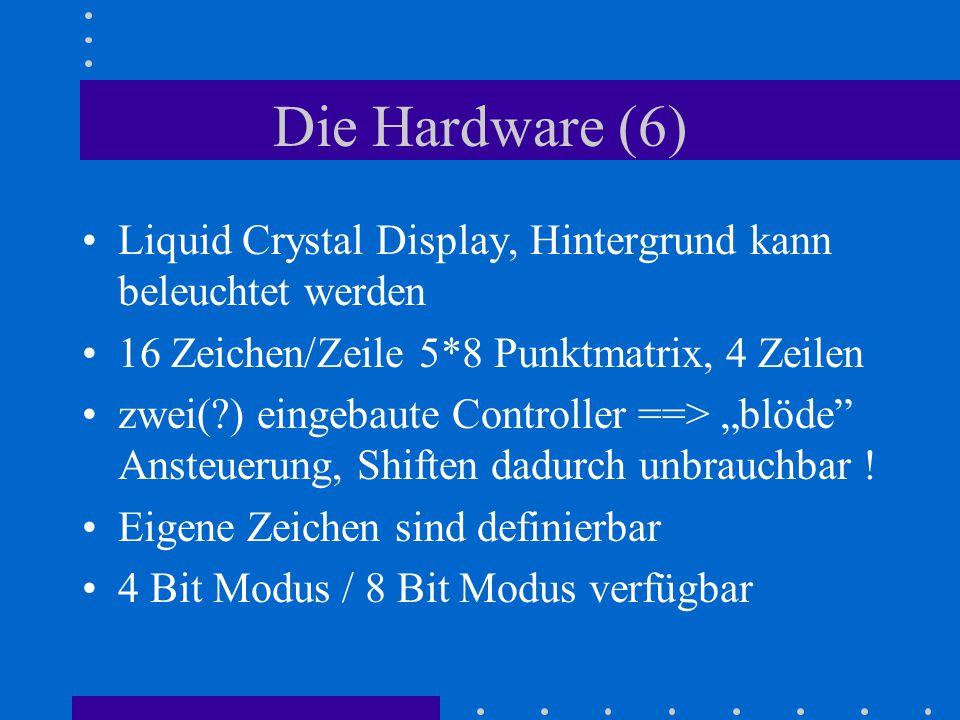 Die Hardware (6) Liquid Crystal Display, Hintergrund kann beleuchtet werden. 16 Zeichen/Zeile 5*8 Punktmatrix, 4 Zeilen.