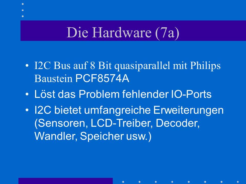 Die Hardware (7a) I2C Bus auf 8 Bit quasiparallel mit Philips Baustein PCF8574A. Löst das Problem fehlender IO-Ports.