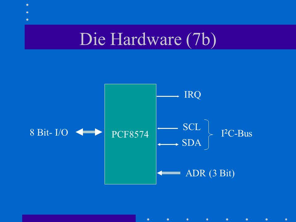 Die Hardware (7b) PCF8574 IRQ SCL 8 Bit- I/O I2C-Bus SDA ADR (3 Bit)