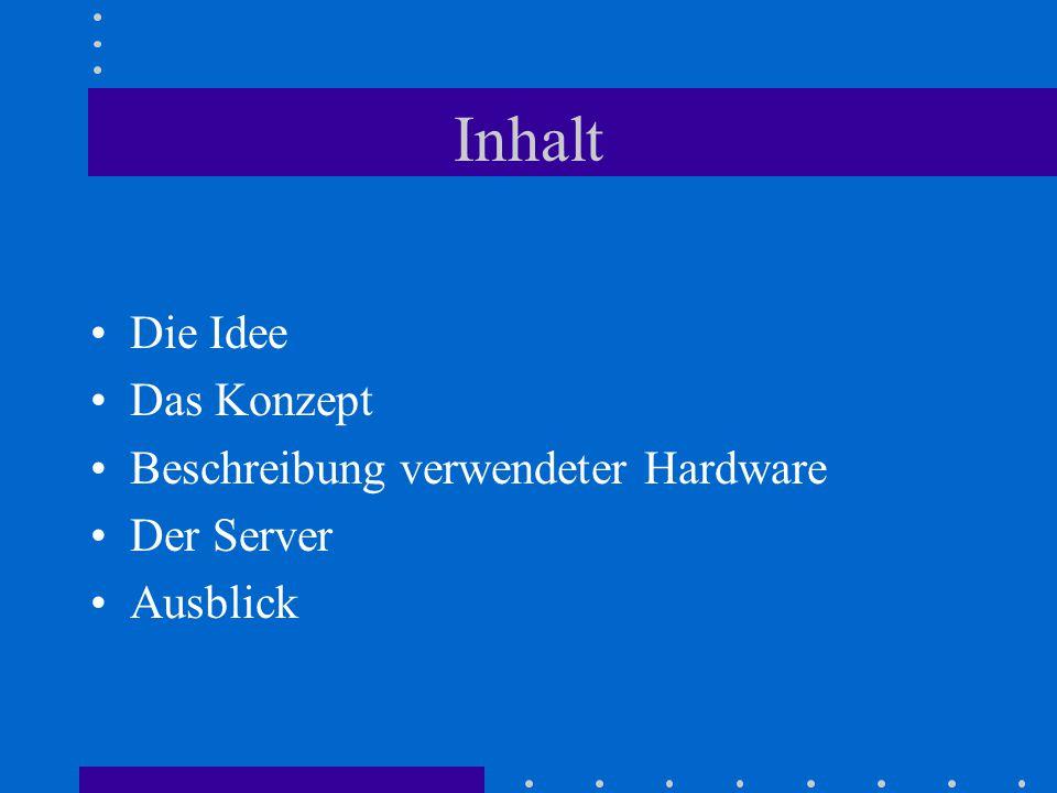 Inhalt Die Idee Das Konzept Beschreibung verwendeter Hardware