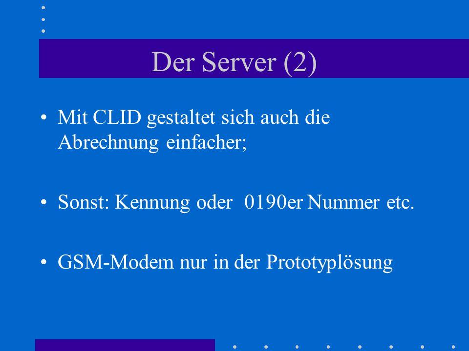 Der Server (2) Mit CLID gestaltet sich auch die Abrechnung einfacher;