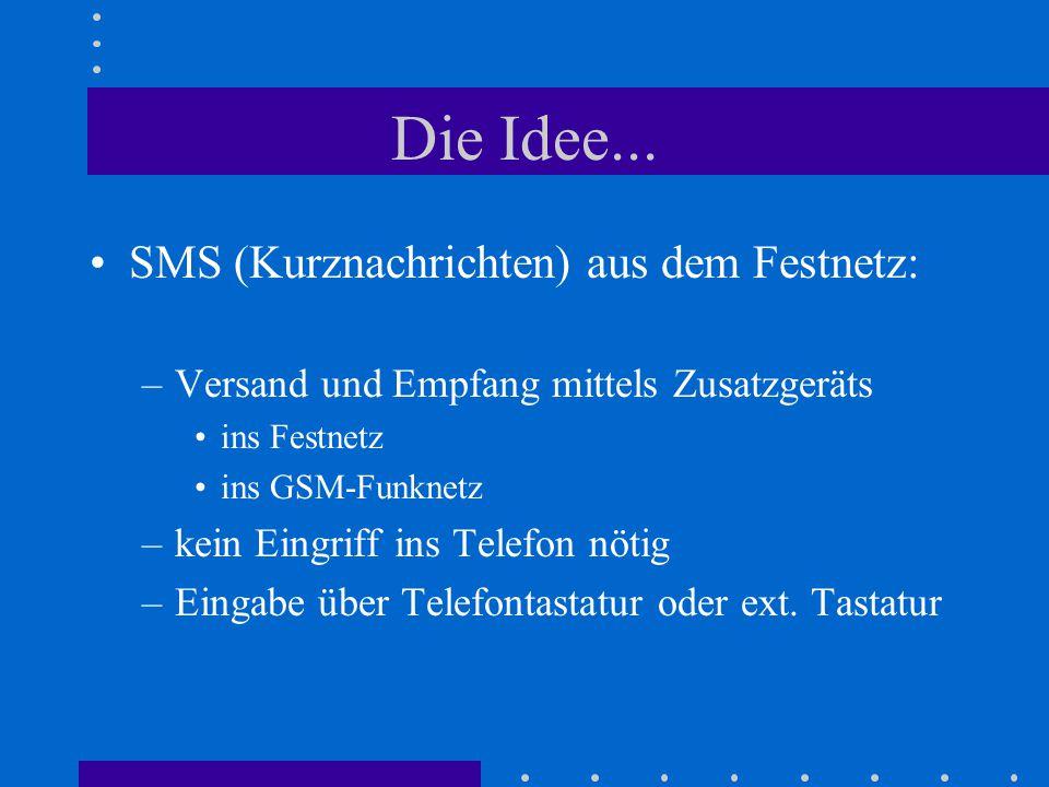 Die Idee... SMS (Kurznachrichten) aus dem Festnetz:
