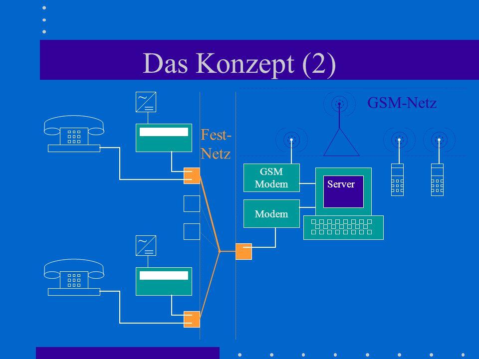 Das Konzept (2) ~ GSM-Netz = Fest- Netz GSM Modem Server Modem ~ =