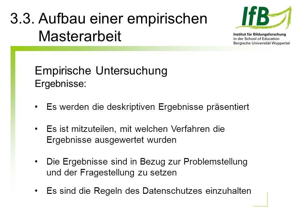 3.3. Aufbau einer empirischen Masterarbeit