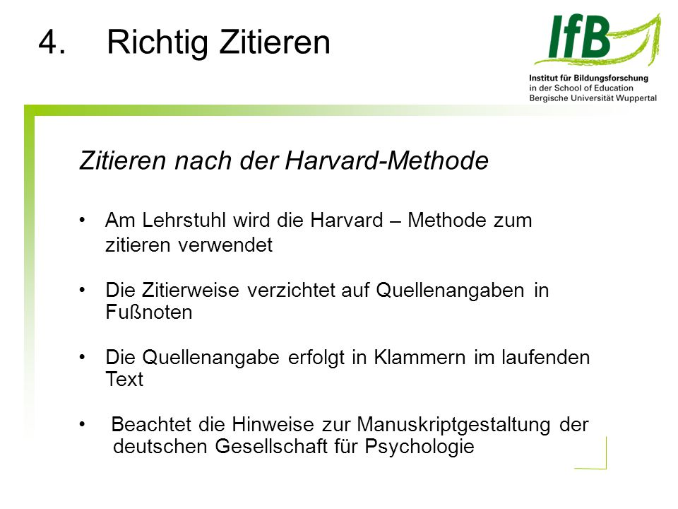 4. Richtig Zitieren Zitieren nach der Harvard-Methode