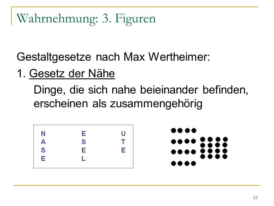 Wahrnehmung: 3. Figuren Gestaltgesetze nach Max Wertheimer: