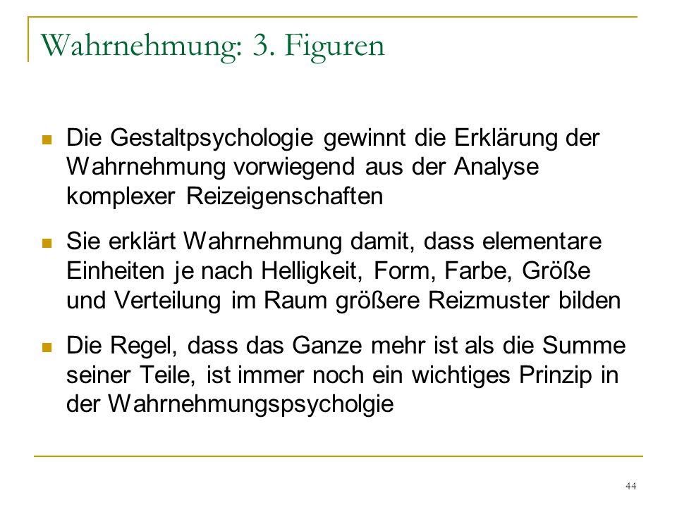 Wahrnehmung: 3. Figuren Die Gestaltpsychologie gewinnt die Erklärung der Wahrnehmung vorwiegend aus der Analyse komplexer Reizeigenschaften.