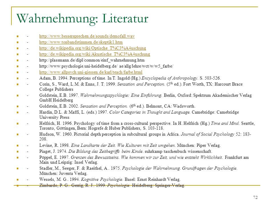 Wahrnehmung: Literatur