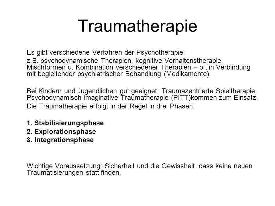 Traumatherapie Es gibt verschiedene Verfahren der Psychotherapie: