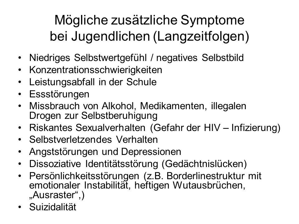 Mögliche zusätzliche Symptome bei Jugendlichen (Langzeitfolgen)