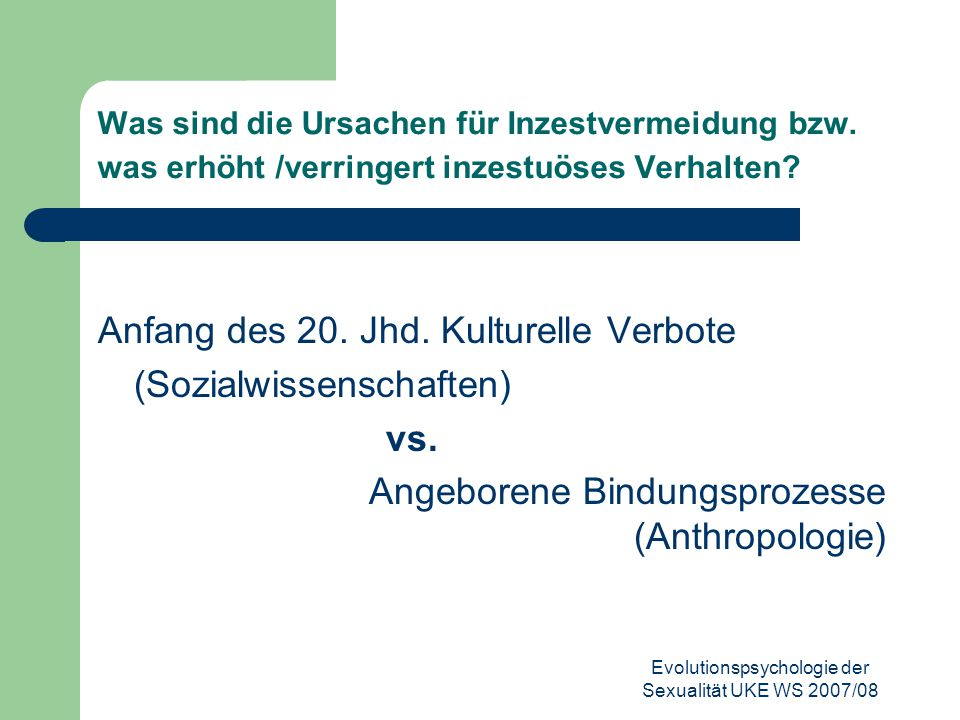 Evolutionspsychologie der Sexualität UKE WS 2007/08