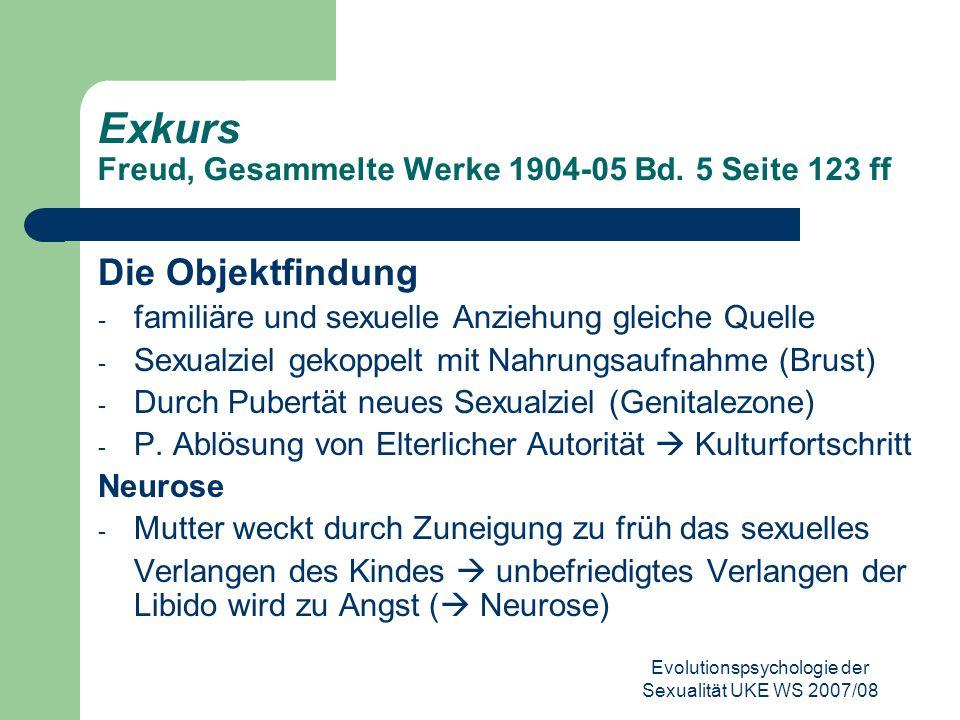 Exkurs Freud, Gesammelte Werke 1904-05 Bd. 5 Seite 123 ff