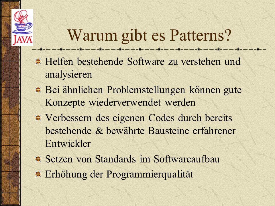 Warum gibt es Patterns Helfen bestehende Software zu verstehen und analysieren.