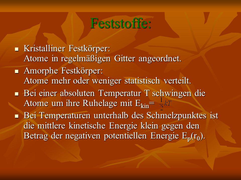 Feststoffe: Kristalliner Festkörper: Atome in regelmäßigen Gitter angeordnet. Amorphe Festkörper: Atome mehr oder weniger statistisch verteilt.