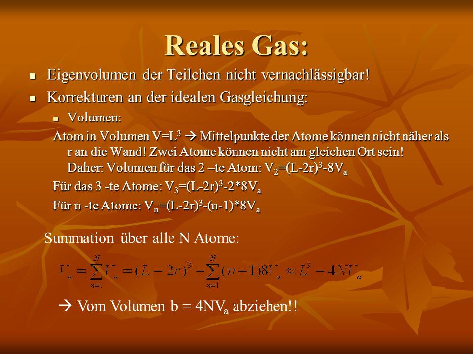 Reales Gas: Eigenvolumen der Teilchen nicht vernachlässigbar!