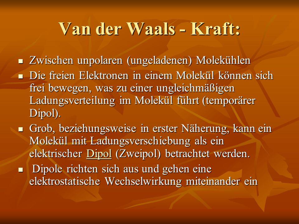 Van der Waals - Kraft: Zwischen unpolaren (ungeladenen) Molekühlen