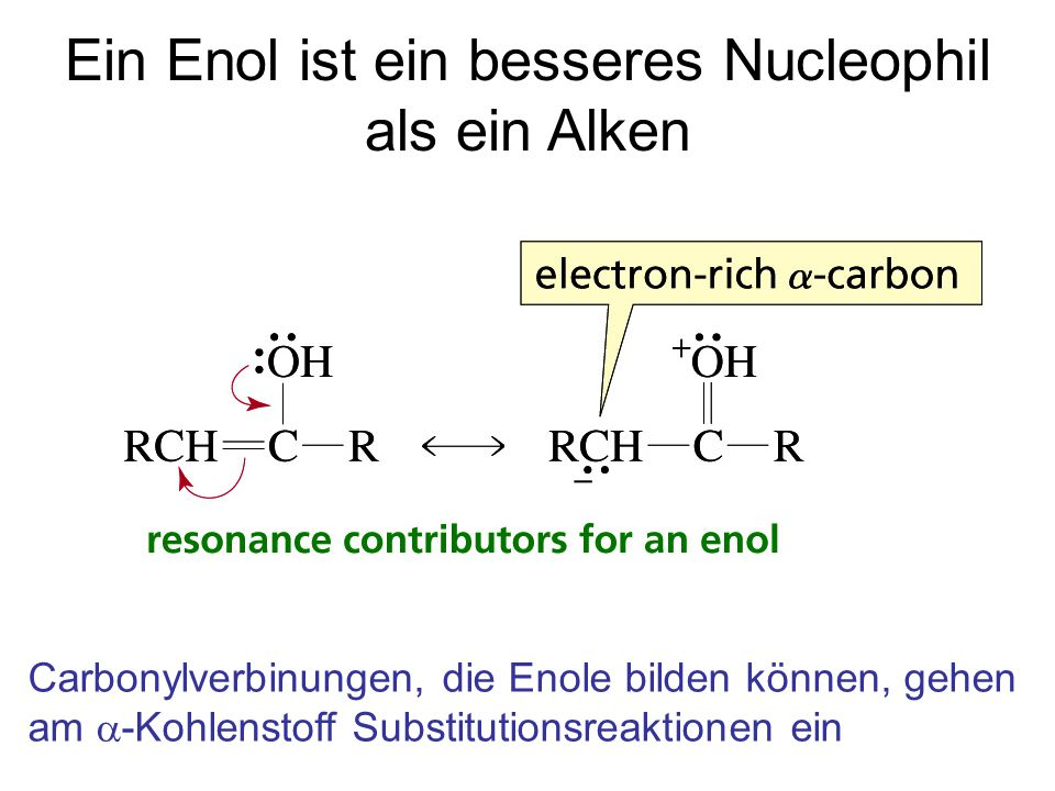 Ein Enol ist ein besseres Nucleophil als ein Alken