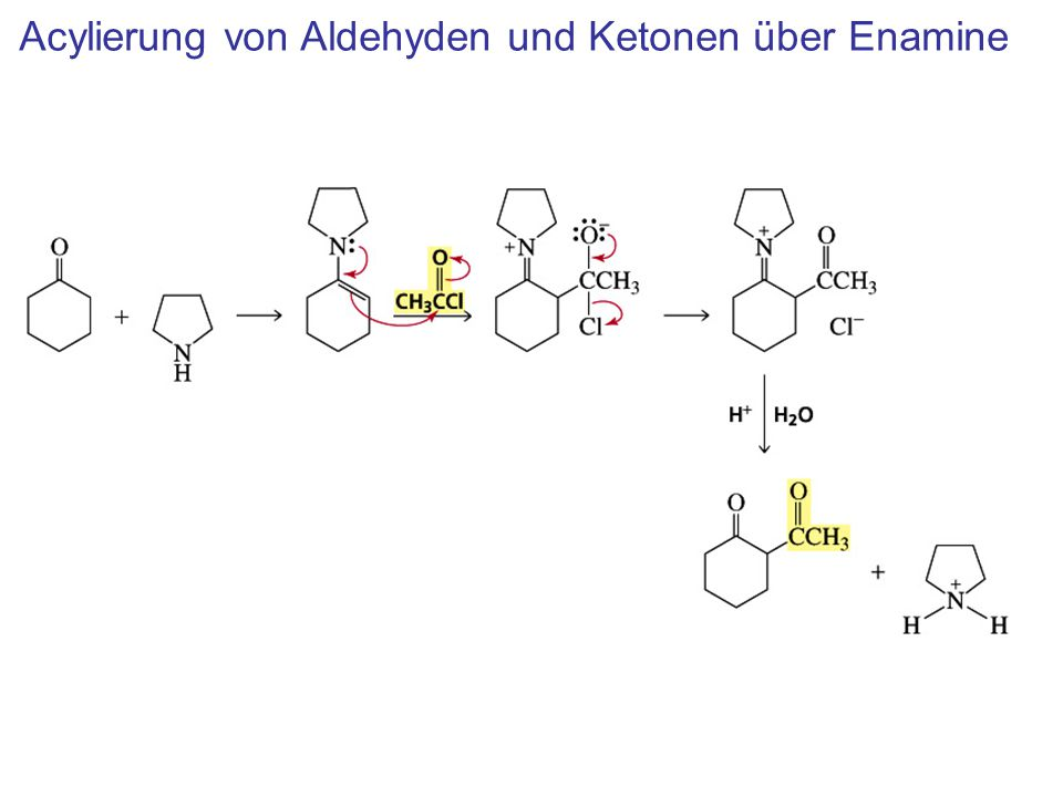 Acylierung von Aldehyden und Ketonen über Enamine