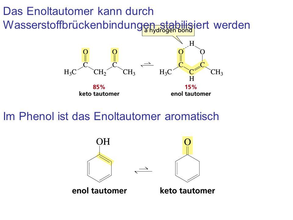 Das Enoltautomer kann durch Wasserstoffbrückenbindungen stabilisiert werden