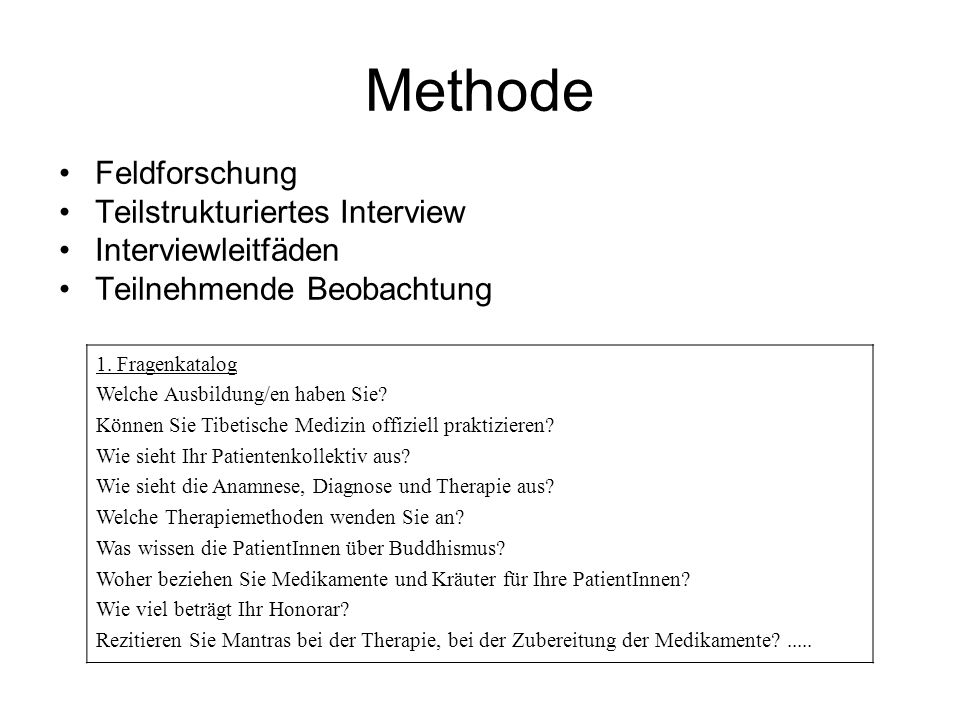 Methode Feldforschung Teilstrukturiertes Interview Interviewleitfäden