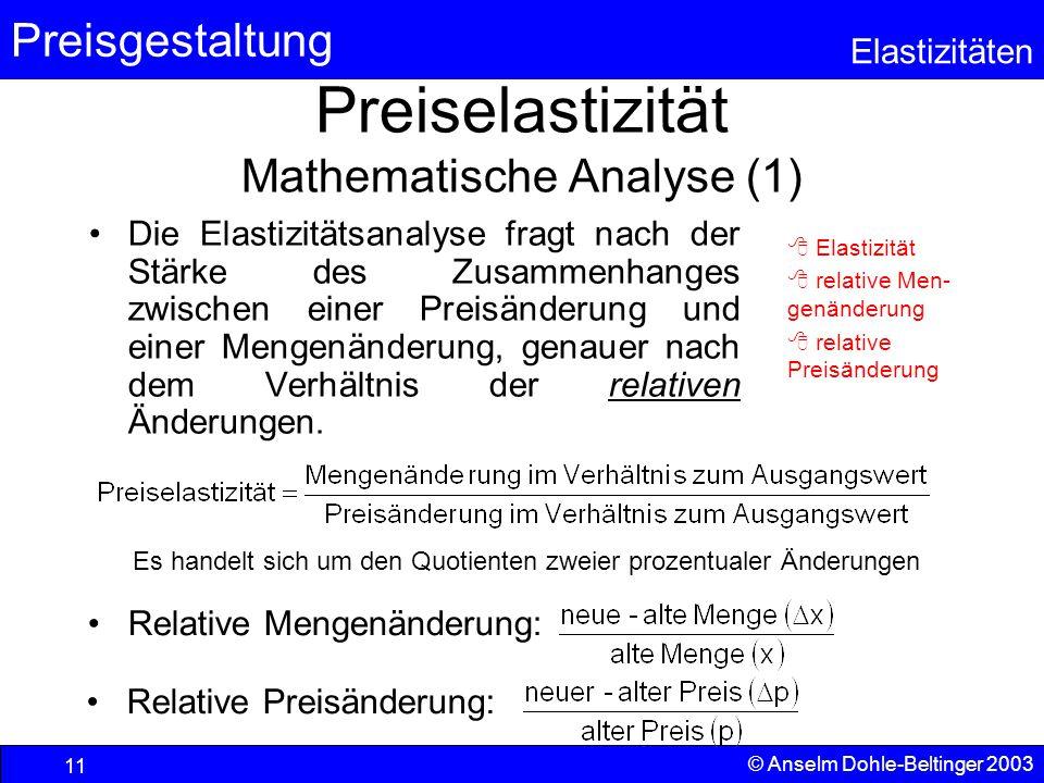 Preiselastizität Mathematische Analyse (1)