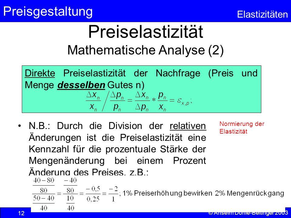 Preiselastizität Mathematische Analyse (2)
