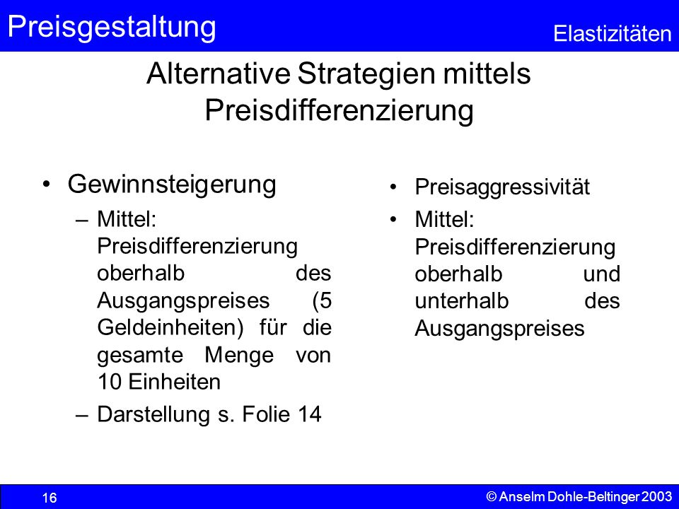 Alternative Strategien mittels Preisdifferenzierung