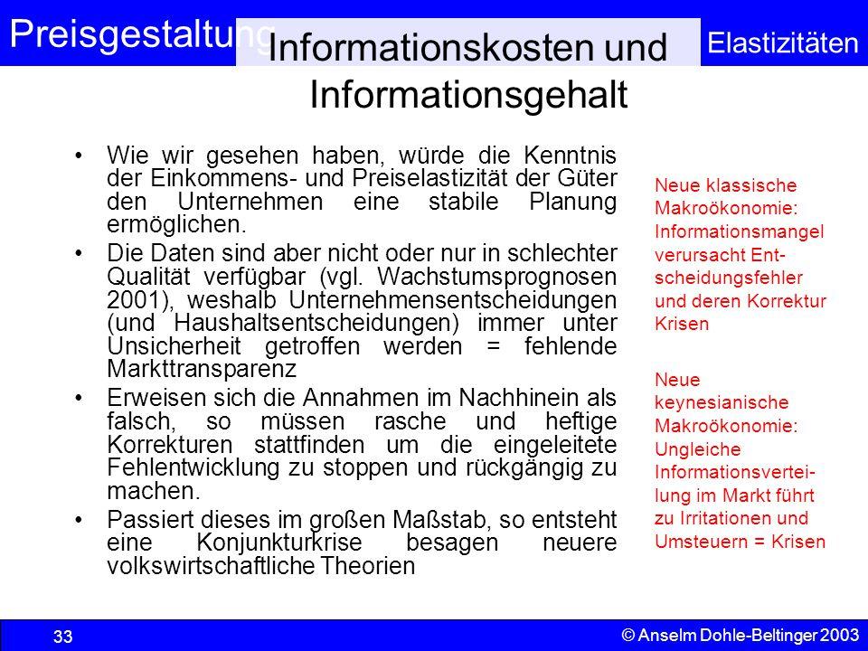 Informationskosten und Informationsgehalt