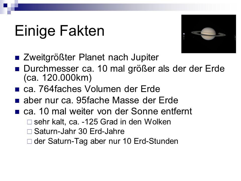 Einige Fakten Zweitgrößter Planet nach Jupiter