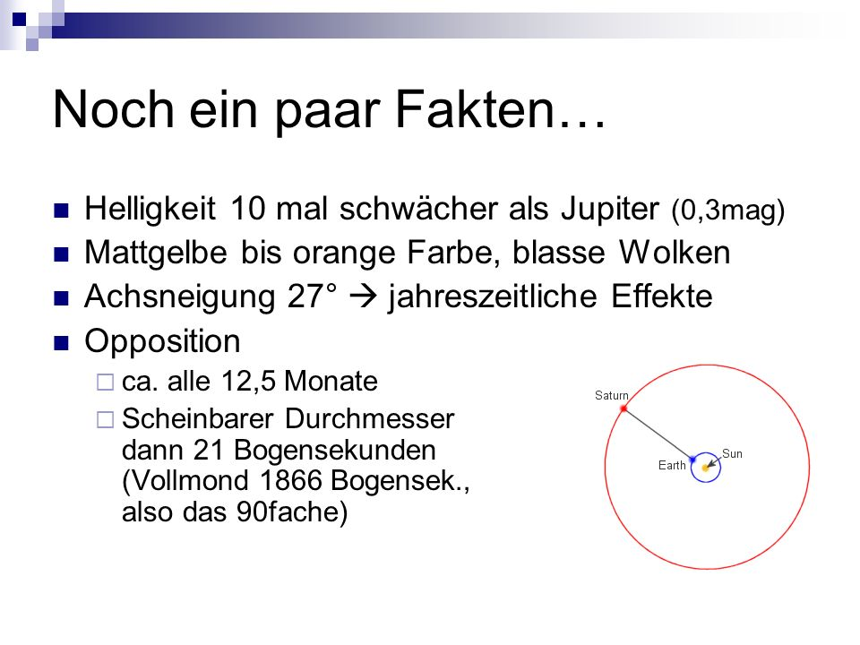 Noch ein paar Fakten… Helligkeit 10 mal schwächer als Jupiter (0,3mag)