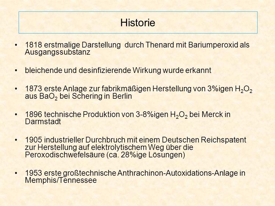 Historie 1818 erstmalige Darstellung durch Thenard mit Bariumperoxid als Ausgangssubstanz. bleichende und desinfizierende Wirkung wurde erkannt.