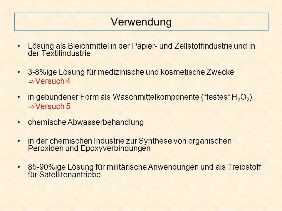 Verwendung Lösung als Bleichmittel in der Papier- und Zellstoffindustrie und in der Textilindustrie.