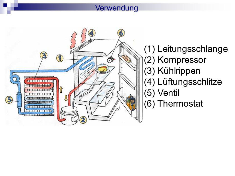 Leitungsschlange (2) Kompressor (3) Kühlrippen (4) Lüftungsschlitze