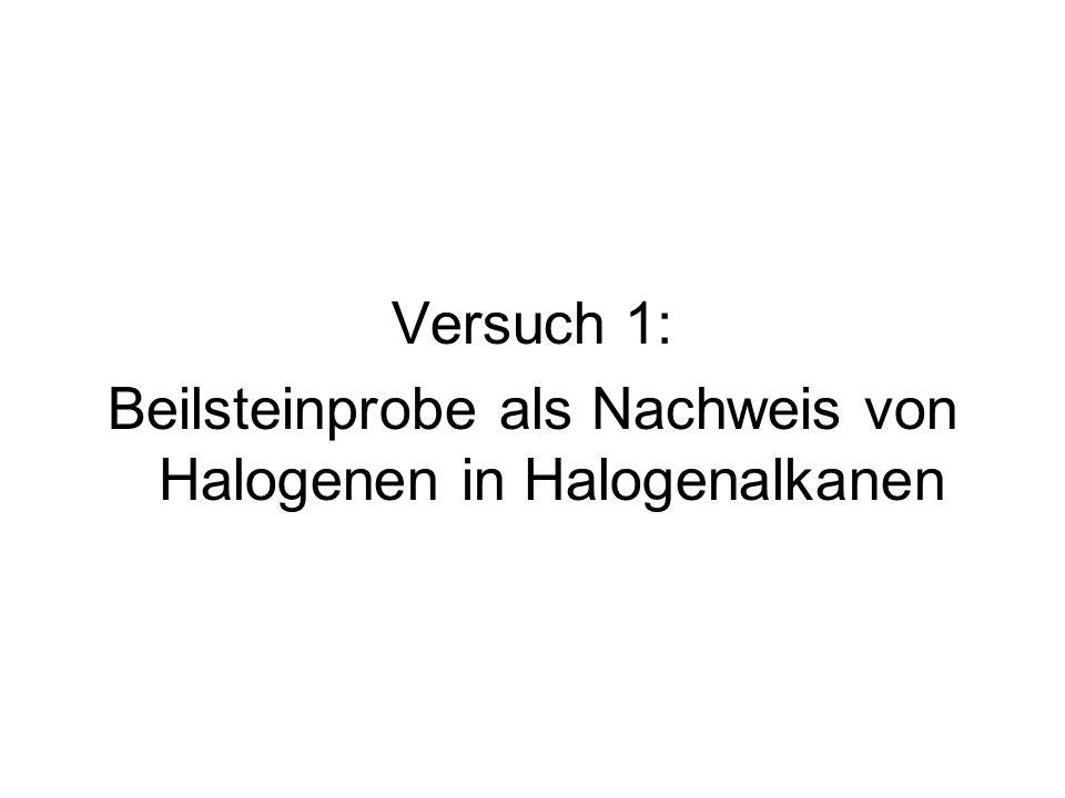 Beilsteinprobe als Nachweis von Halogenen in Halogenalkanen
