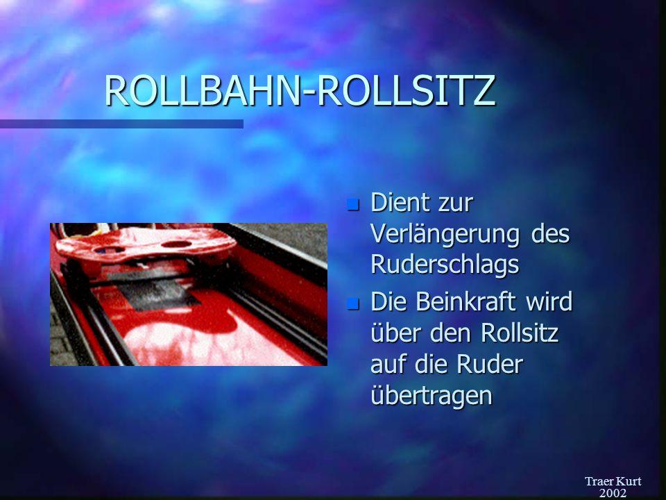 ROLLBAHN-ROLLSITZ Dient zur Verlängerung des Ruderschlags