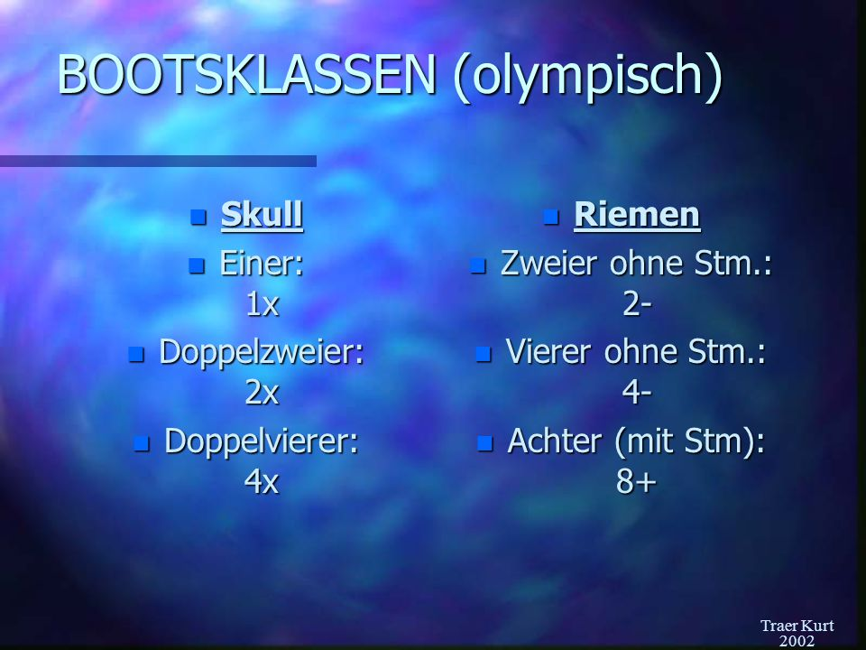 BOOTSKLASSEN (olympisch)