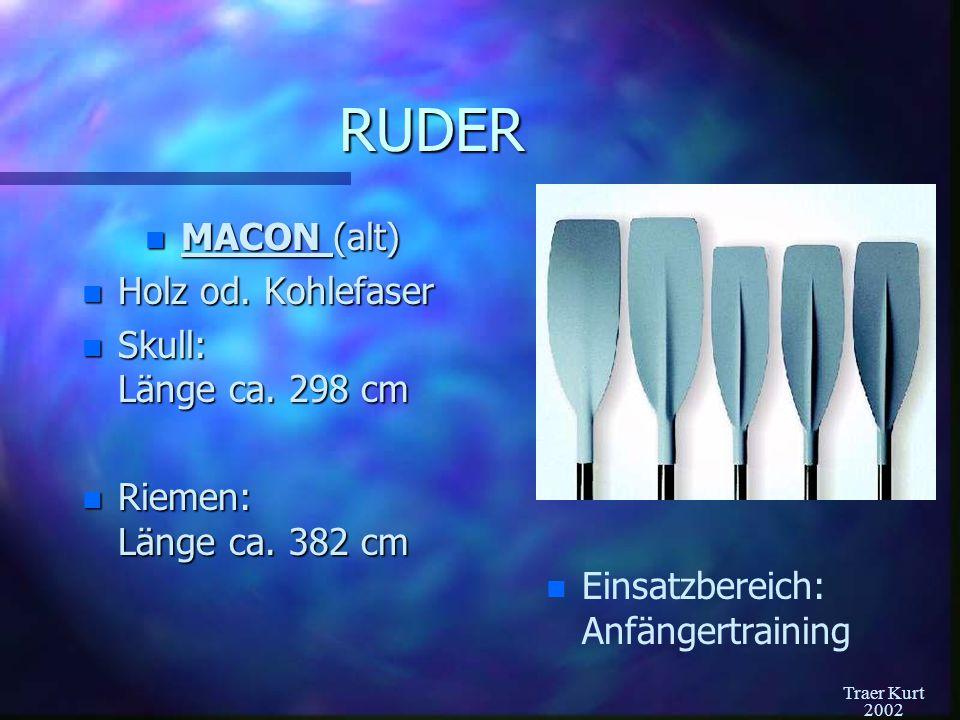 RUDER MACON (alt) Holz od. Kohlefaser Skull: Länge ca. 298 cm
