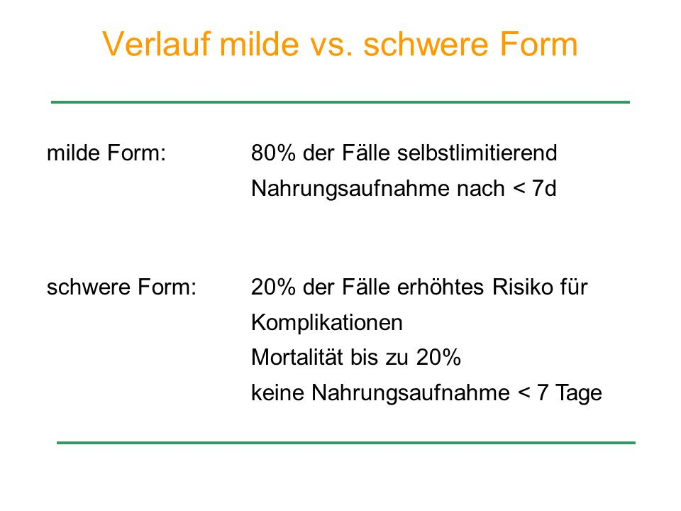 Verlauf milde vs. schwere Form