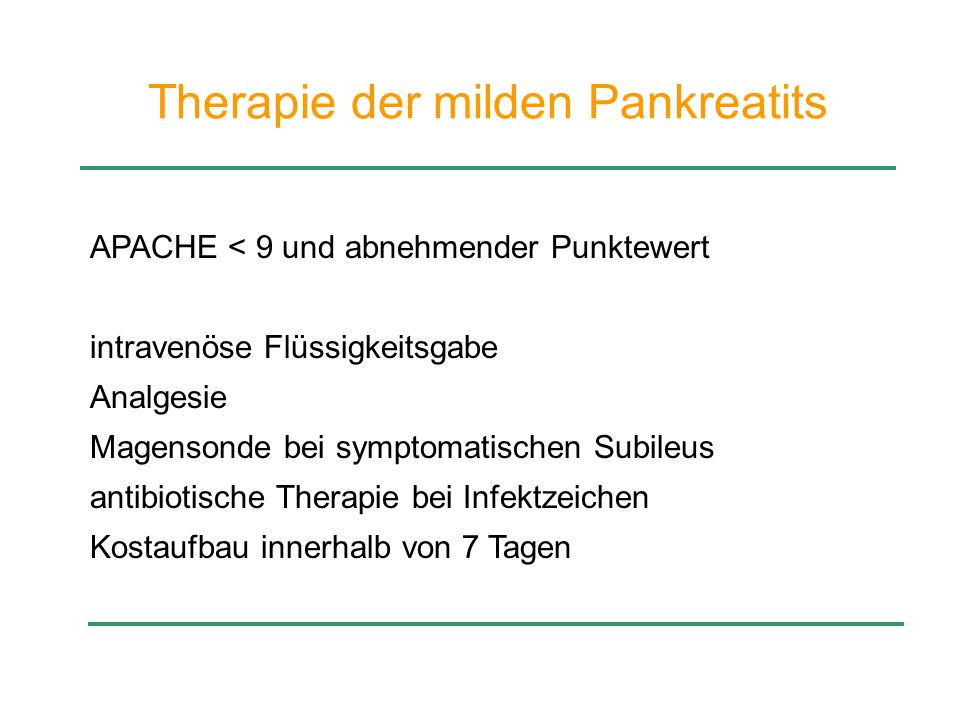 Therapie der milden Pankreatits