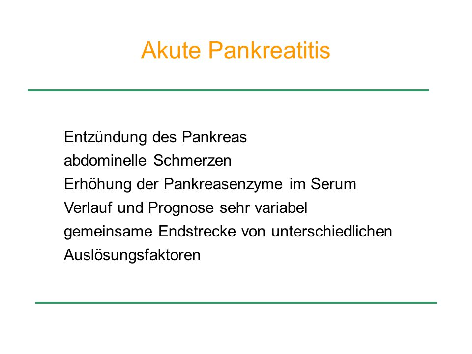Akute Pankreatitis Entzündung des Pankreas abdominelle Schmerzen